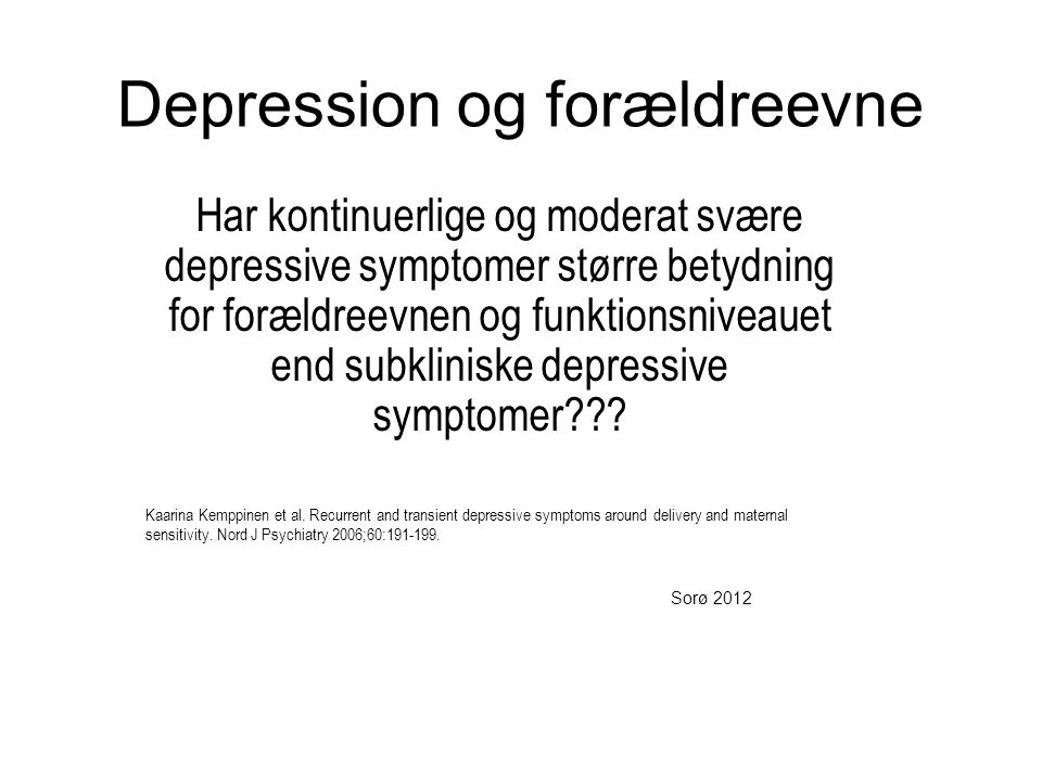 Depression og forældreevne