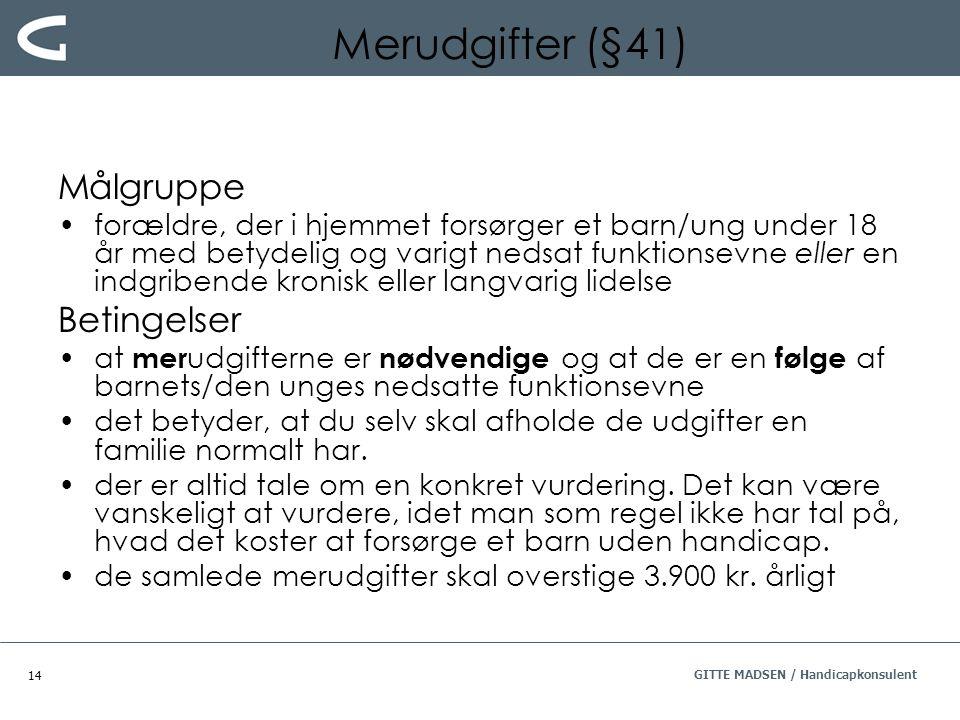 Merudgifter (§41) Målgruppe Betingelser