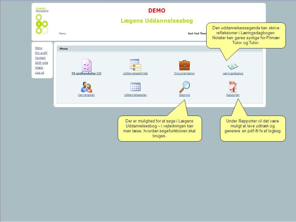 Den uddannelsessøgende kan skrive refleksioner i Læringsdagbogen