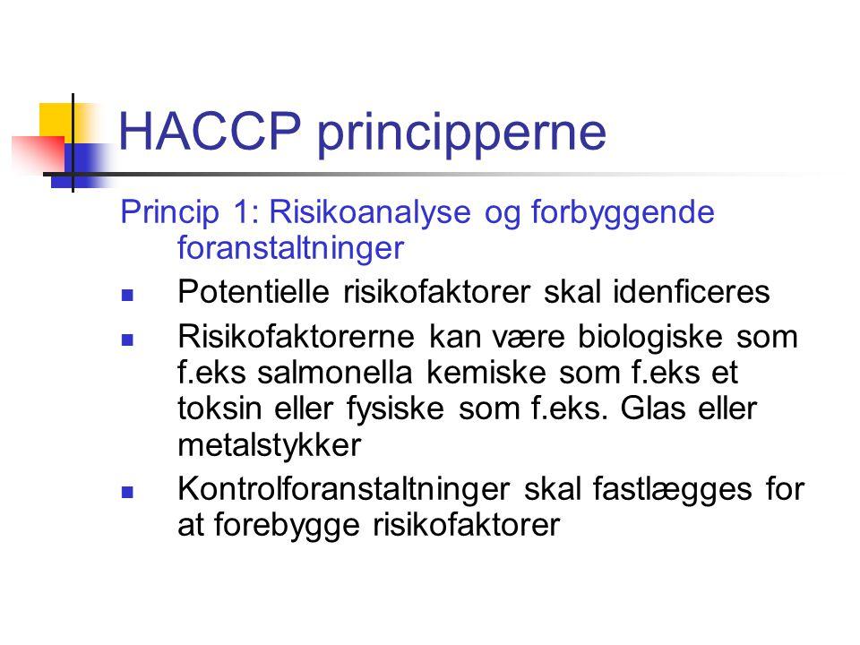 HACCP principperne Princip 1: Risikoanalyse og forbyggende foranstaltninger. Potentielle risikofaktorer skal idenficeres.