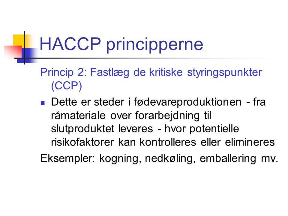 HACCP principperne Princip 2: Fastlæg de kritiske styringspunkter (CCP)
