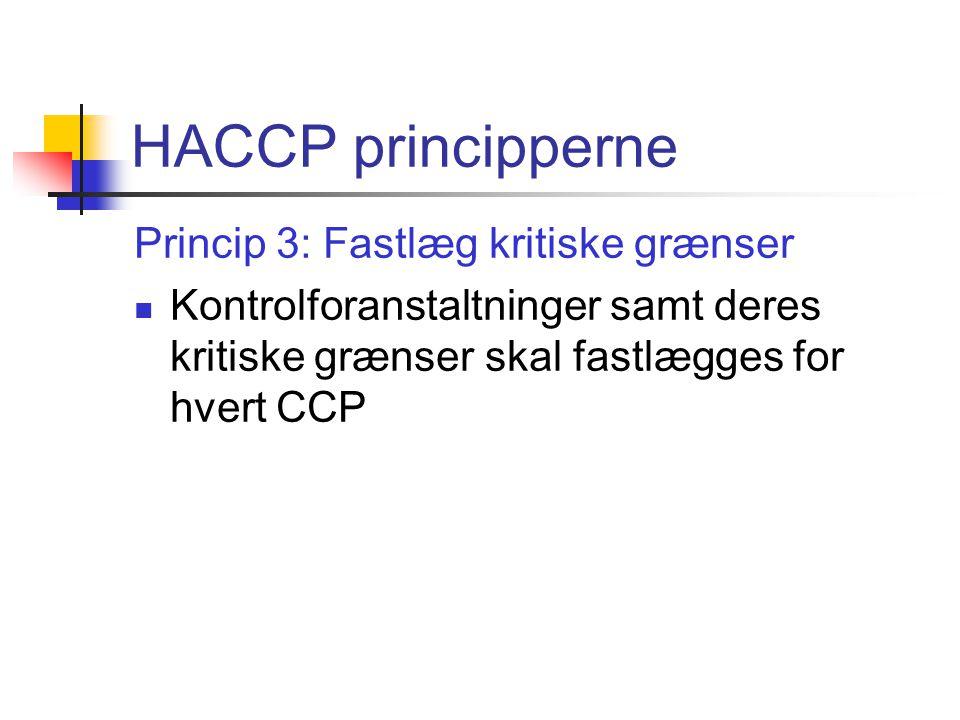 HACCP principperne Princip 3: Fastlæg kritiske grænser