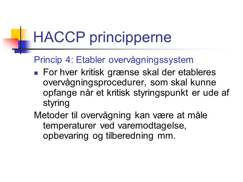 HACCP principperne Princip 4: Etabler overvågningssystem