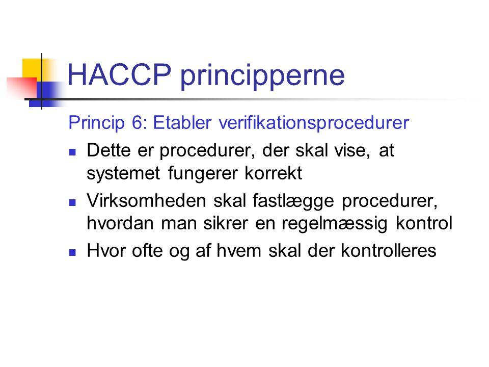 HACCP principperne Princip 6: Etabler verifikationsprocedurer
