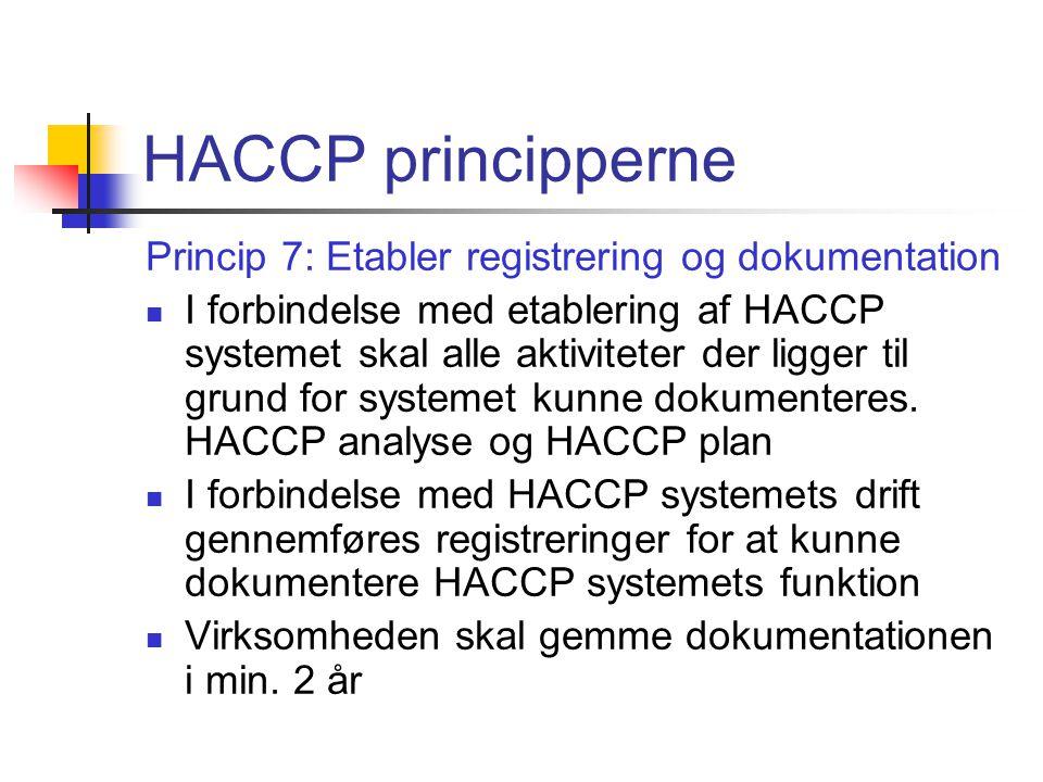 HACCP principperne Princip 7: Etabler registrering og dokumentation