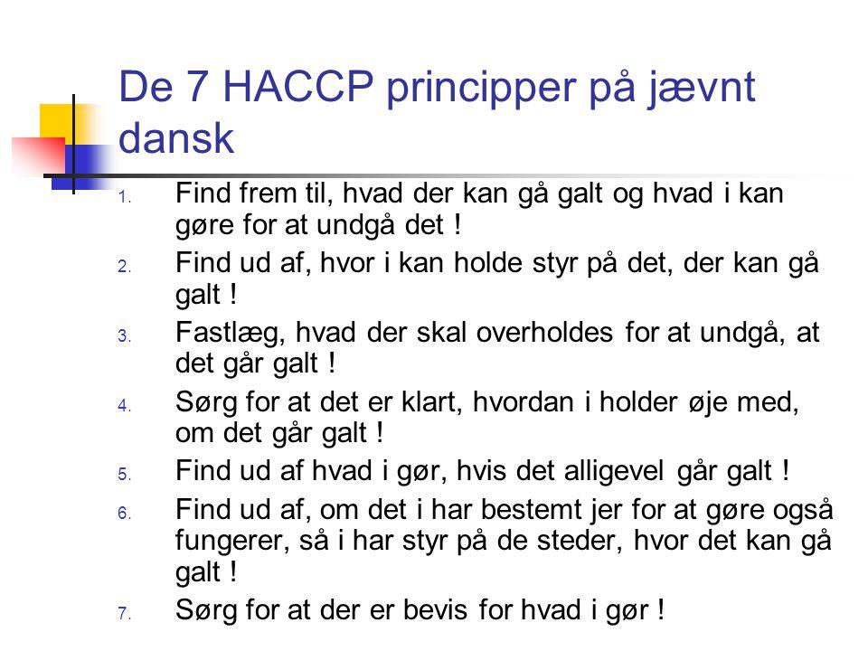 De 7 HACCP principper på jævnt dansk