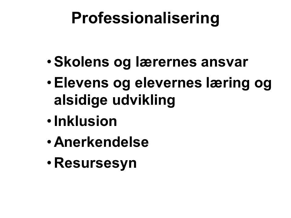 Professionalisering Skolens og lærernes ansvar