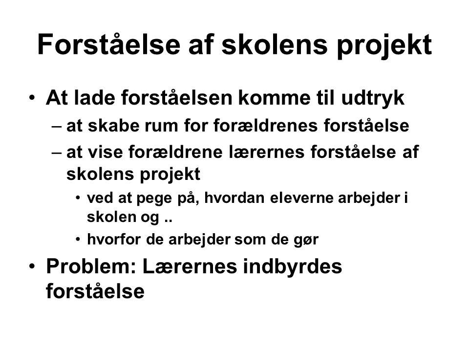 Forståelse af skolens projekt