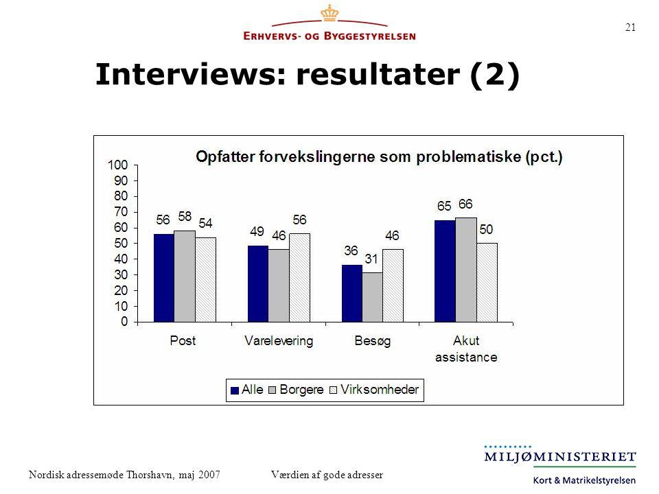 Interviews: resultater (2)