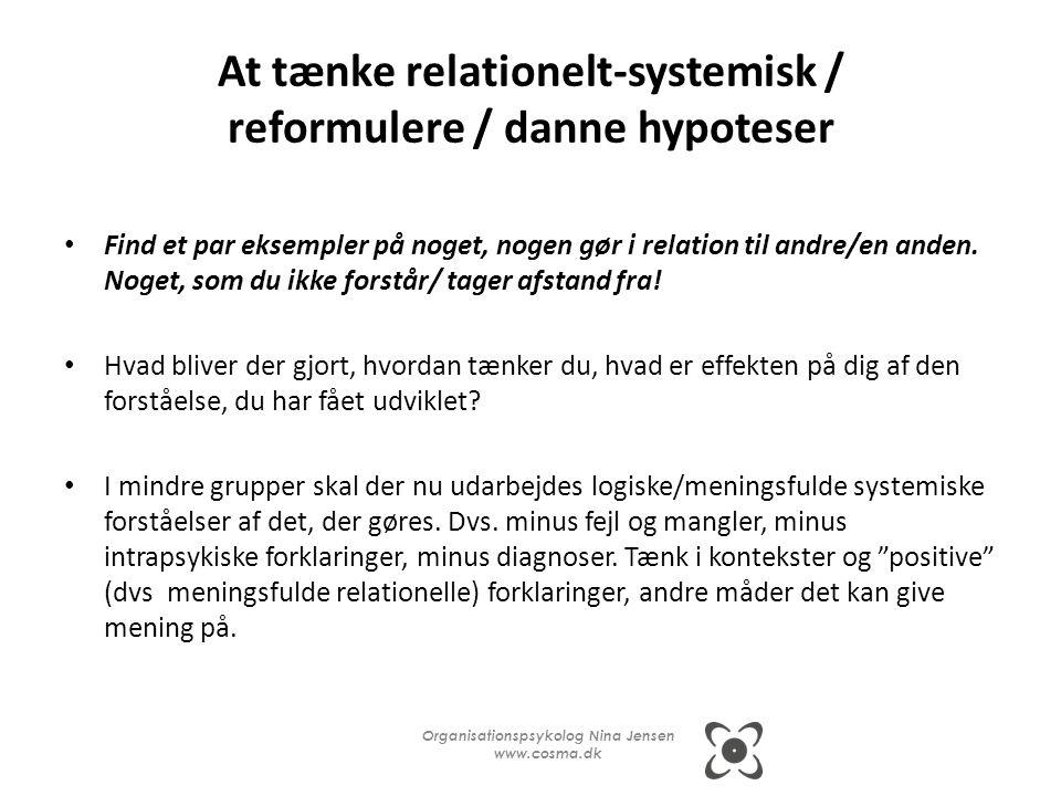 At tænke relationelt-systemisk / reformulere / danne hypoteser