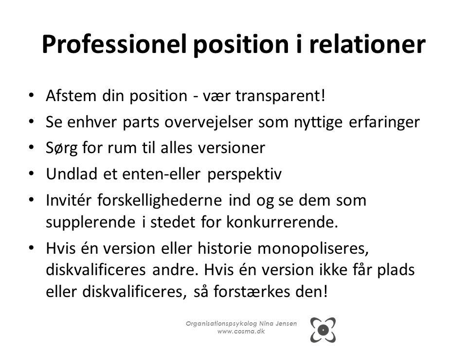 Professionel position i relationer