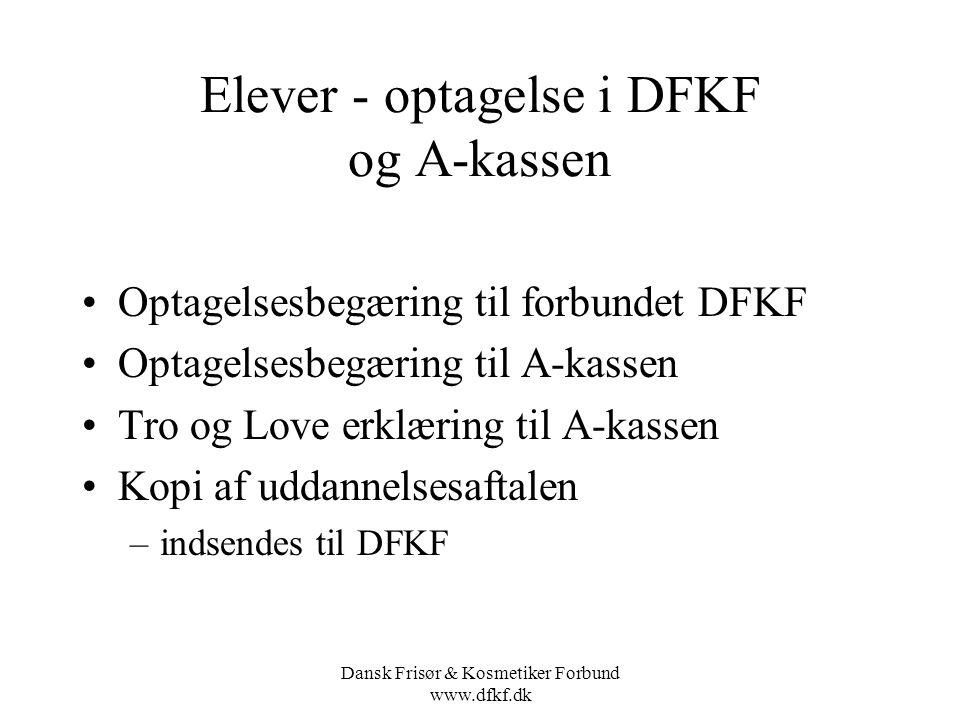 Elever - optagelse i DFKF og A-kassen