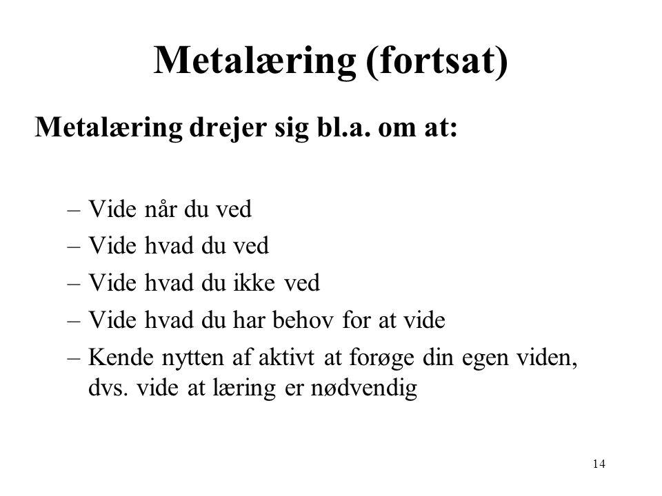 Metalæring (fortsat) Metalæring drejer sig bl.a. om at: