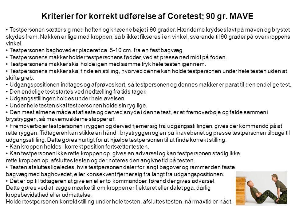 Kriterier for korrekt udførelse af Coretest; 90 gr. MAVE