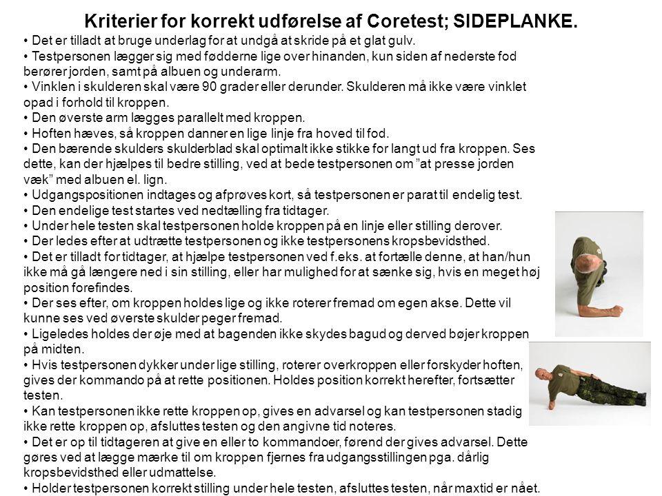 Kriterier for korrekt udførelse af Coretest; SIDEPLANKE.