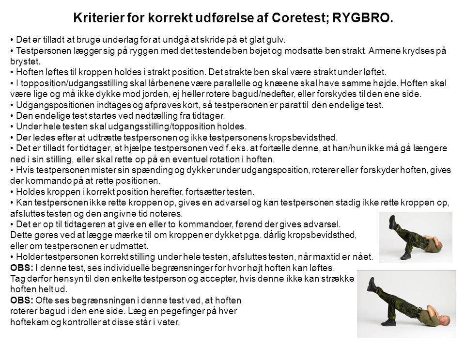 Kriterier for korrekt udførelse af Coretest; RYGBRO.