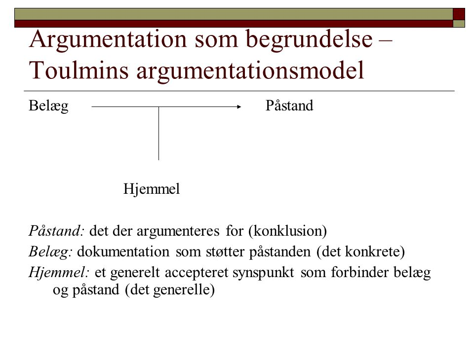 Argumentation som begrundelse – Toulmins argumentationsmodel