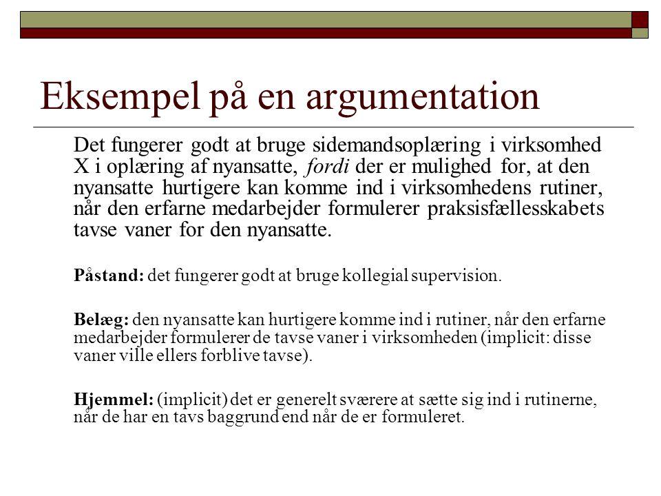 Eksempel på en argumentation