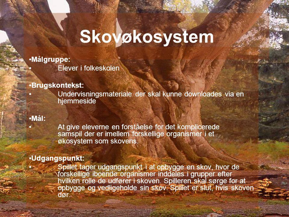 Skovøkosystem Målgruppe: Elever i folkeskolen Brugskontekst: