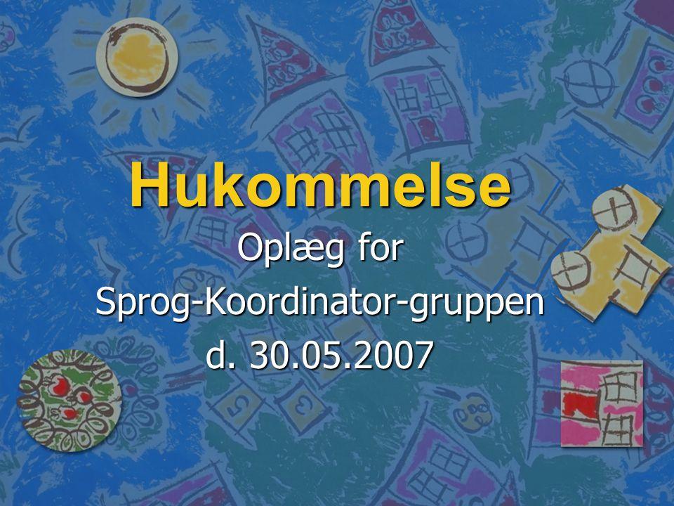 Oplæg for Sprog-Koordinator-gruppen d. 30.05.2007
