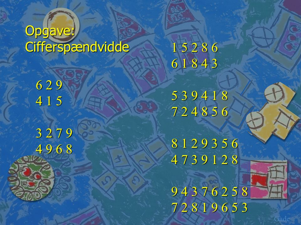 Opgave: Cifferspændvidde 1 5 2 8 6 6 1 8 4 3 5 3 9 4 1 8 7 2 4 8 5 6
