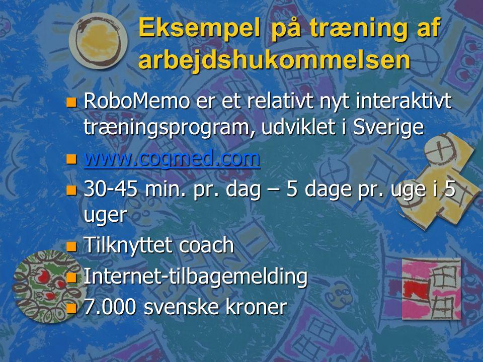 Eksempel på træning af arbejdshukommelsen