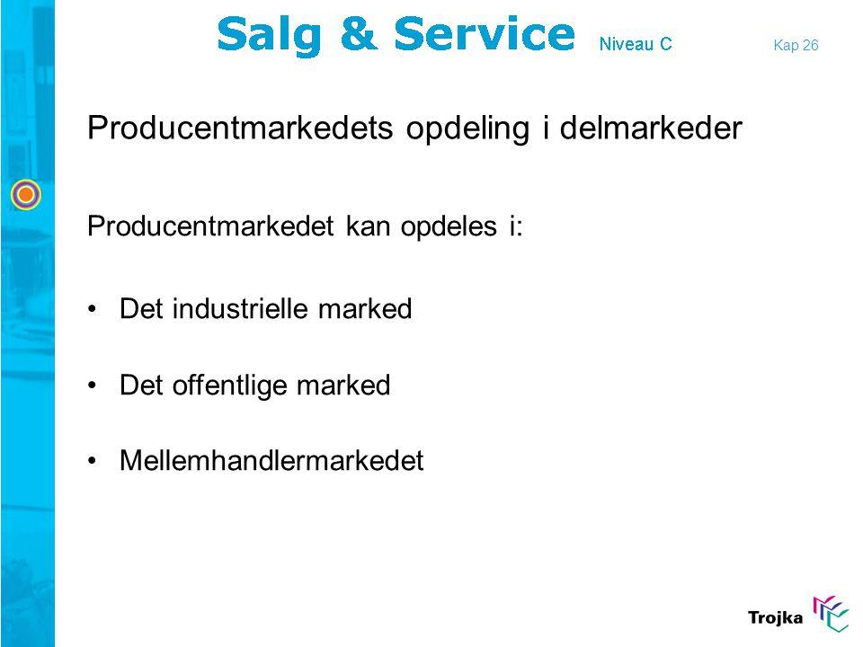Producentmarkedets opdeling i delmarkeder