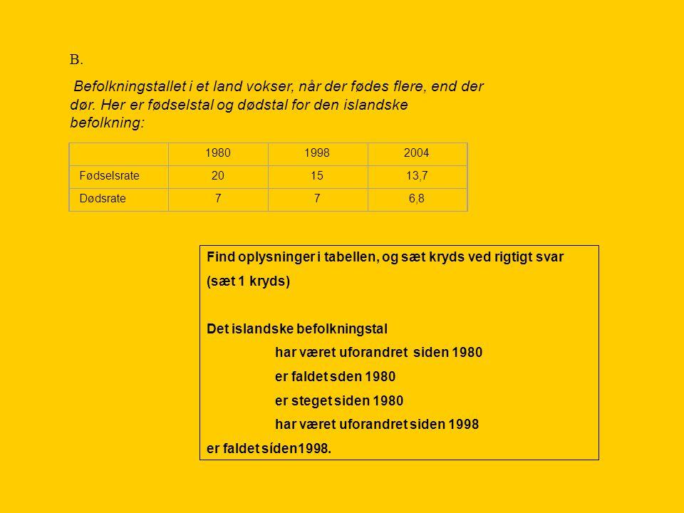 B. Befolkningstallet i et land vokser, når der fødes flere, end der dør. Her er fødselstal og dødstal for den islandske befolkning: