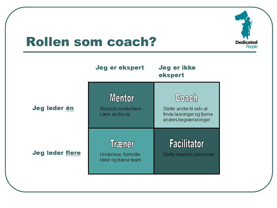 Rollen som coach Mentor Coach Træner Facilitator Jeg er ekspert