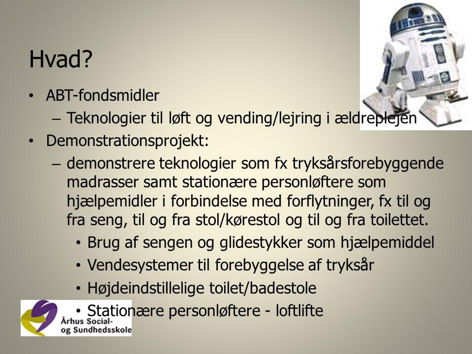 Hvad ABT-fondsmidler. Teknologier til løft og vending/lejring i ældreplejen. Demonstrationsprojekt: