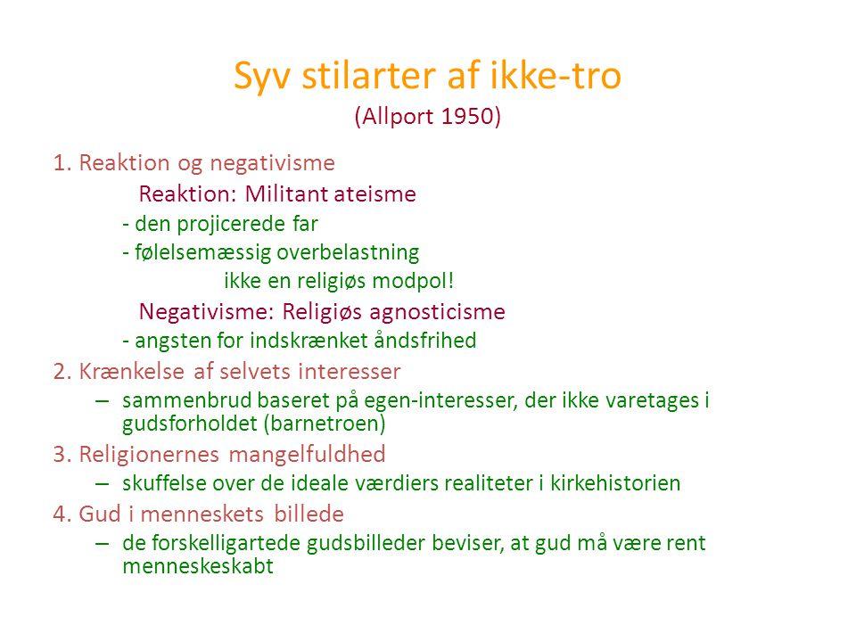 Syv stilarter af ikke-tro (Allport 1950)