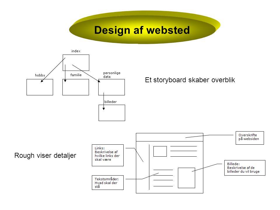 Design af websted Et storyboard skaber overblik Rough viser detaljer