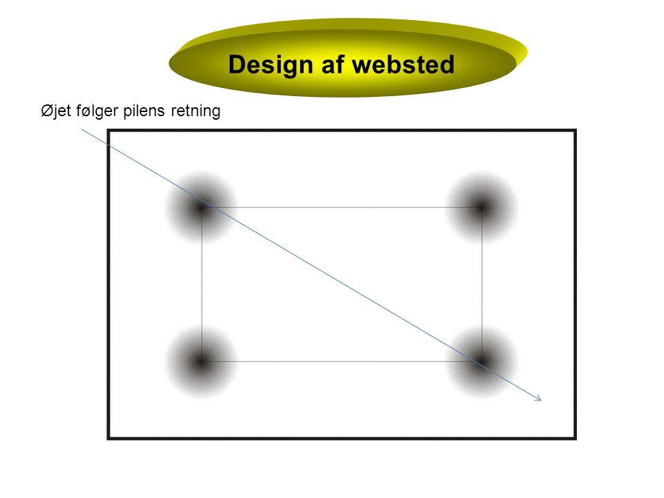 Design af websted Øjet følger pilens retning