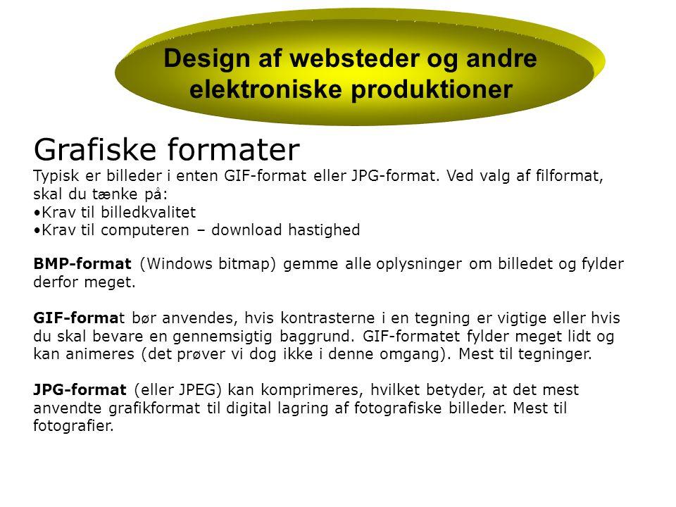 Design af websteder og andre elektroniske produktioner