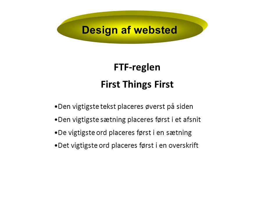 Design af websted FTF-reglen First Things First