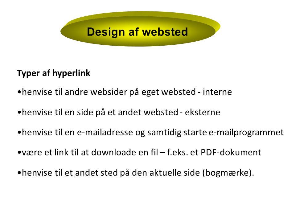 Design af websted Typer af hyperlink