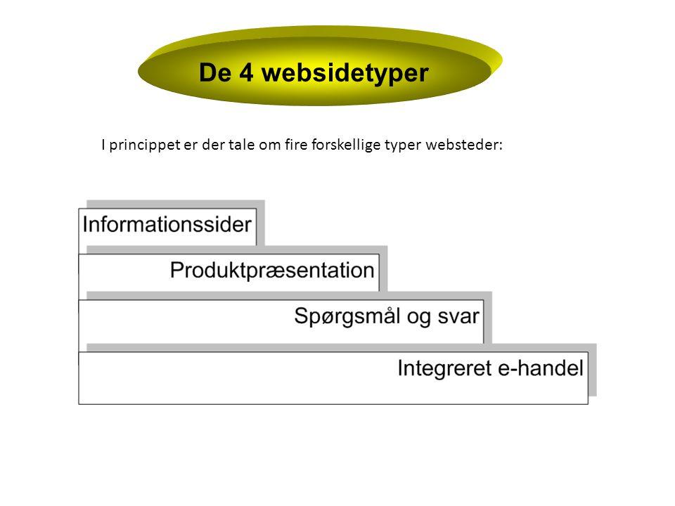 De 4 websidetyper I princippet er der tale om fire forskellige typer websteder: