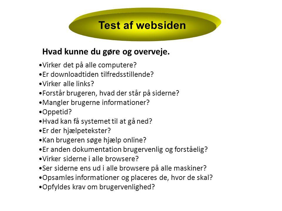 Test af websiden Hvad kunne du gøre og overveje.
