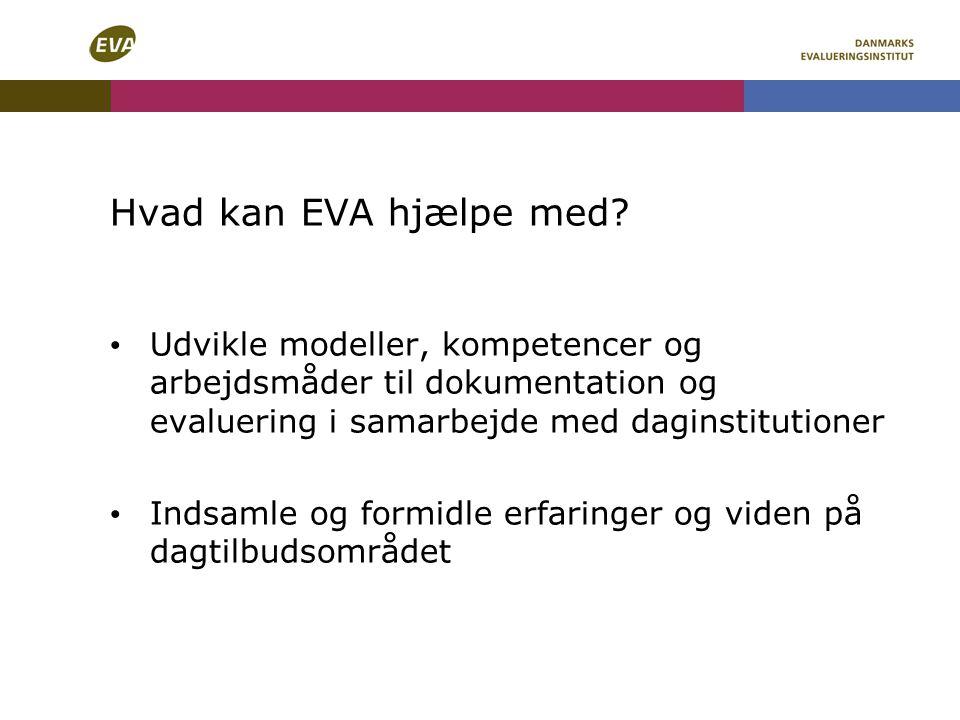 Hvad kan EVA hjælpe med Udvikle modeller, kompetencer og arbejdsmåder til dokumentation og evaluering i samarbejde med daginstitutioner.
