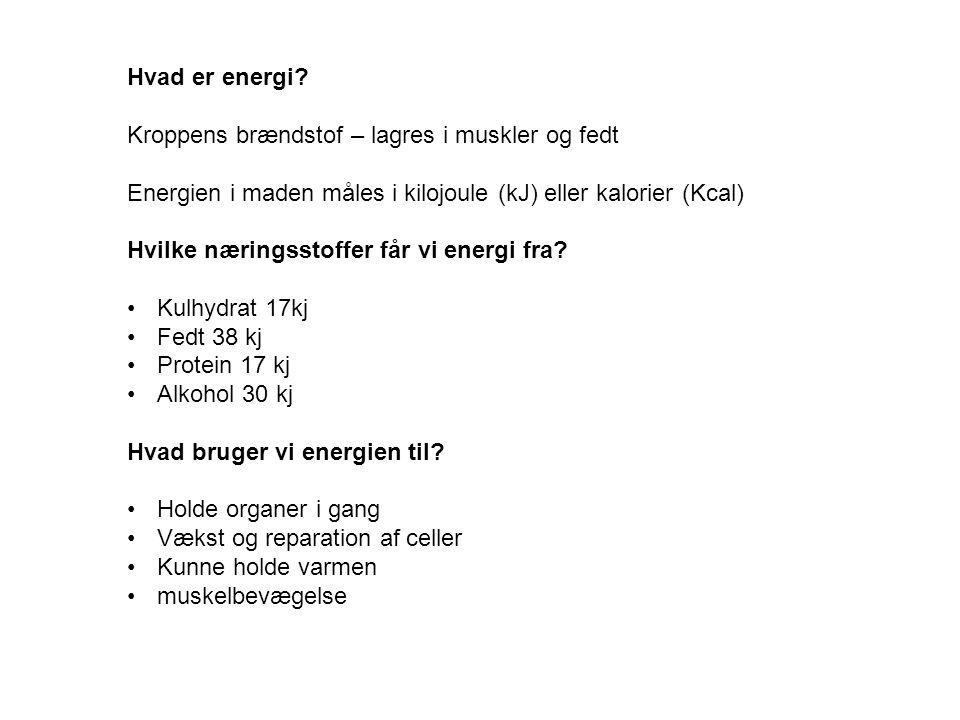 Hvad er energi Kroppens brændstof – lagres i muskler og fedt. Energien i maden måles i kilojoule (kJ) eller kalorier (Kcal)