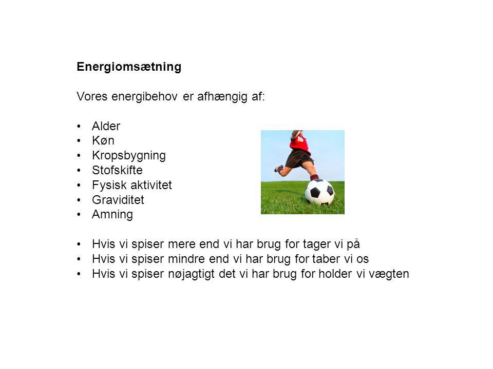 Energiomsætning Vores energibehov er afhængig af: Alder. Køn. Kropsbygning. Stofskifte. Fysisk aktivitet.