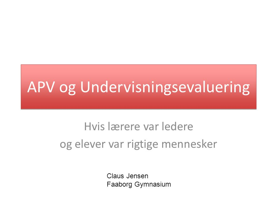 APV og Undervisningsevaluering