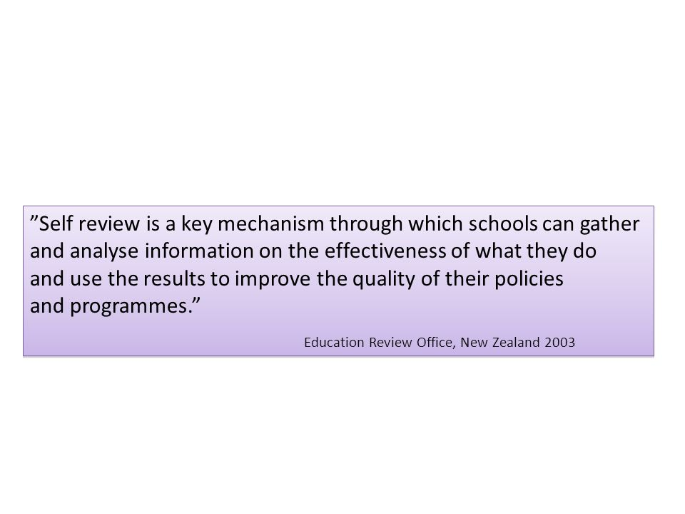 Self review is a key mechanism through which schools can gather