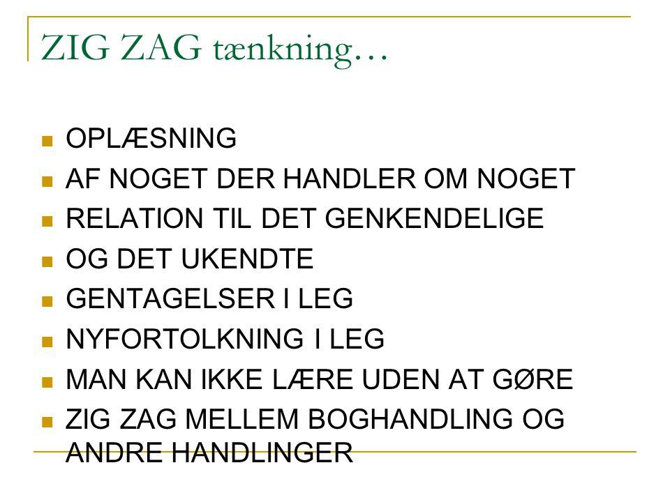 ZIG ZAG tænkning… OPLÆSNING AF NOGET DER HANDLER OM NOGET