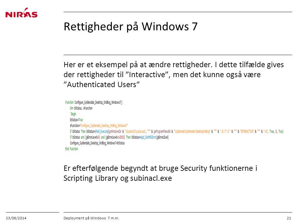 Rettigheder på Windows 7