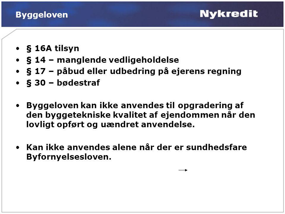 Byggeloven § 16A tilsyn. § 14 – manglende vedligeholdelse. § 17 – påbud eller udbedring på ejerens regning.