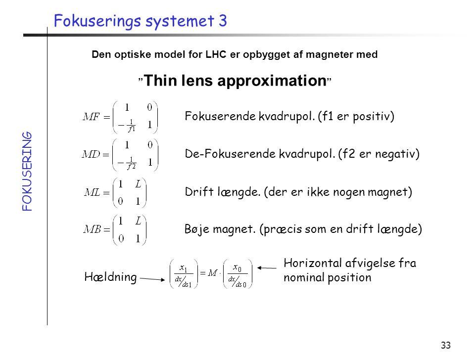 Fokuserings systemet 3 Fokuserende kvadrupol. (f1 er positiv)