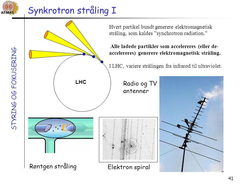 Synkrotron stråling I STYRING OG FOKUSERING Radio og TV antenner