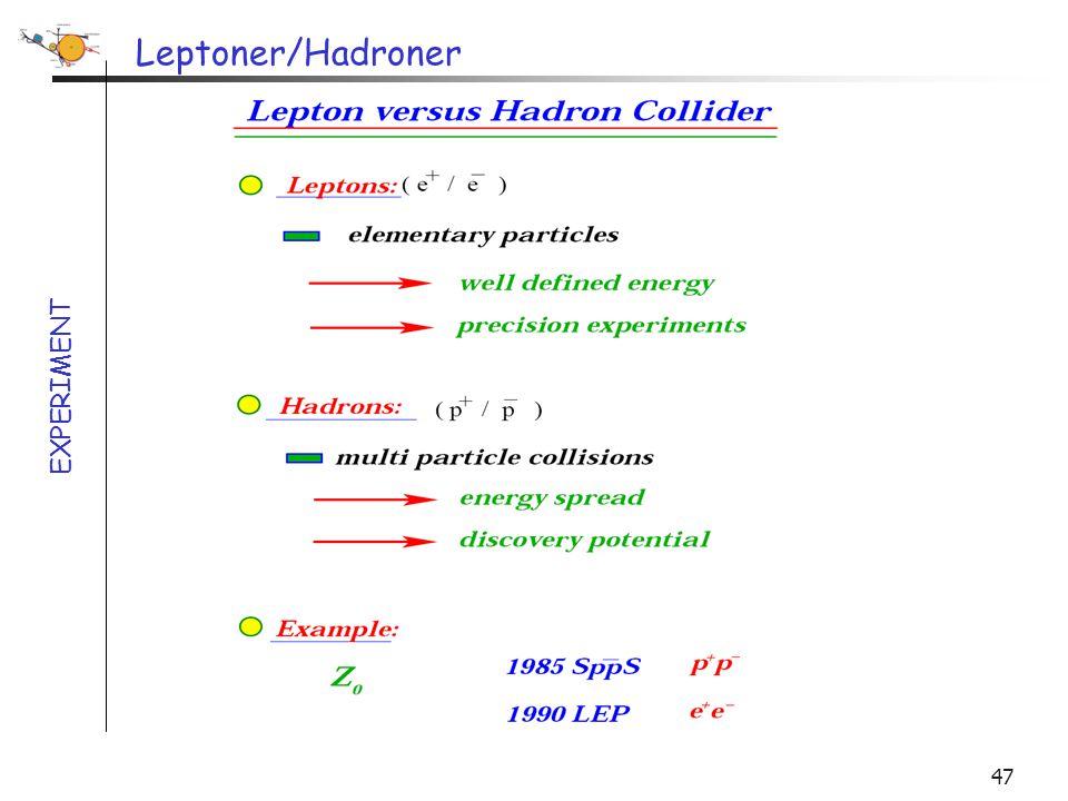 Leptoner/Hadroner EXPERIMENT