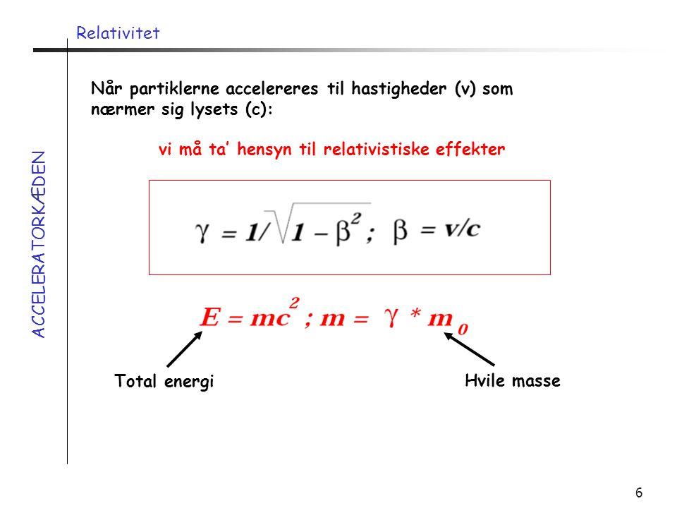 Relativitet Når partiklerne accelereres til hastigheder (v) som nærmer sig lysets (c): vi må ta' hensyn til relativistiske effekter.